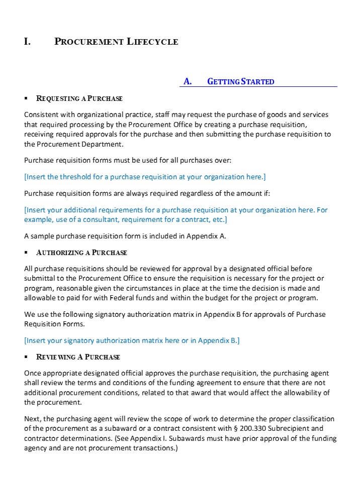 Editable procurement manual myfedtrainer examples of pages pronofoot35fo Choice Image