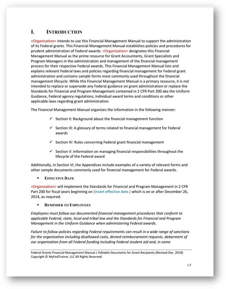 Editable Financial Management Manual for Federal Grants